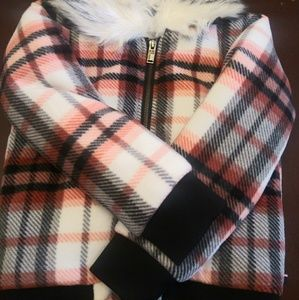 Girl's plaid jacket with removable fur collar.